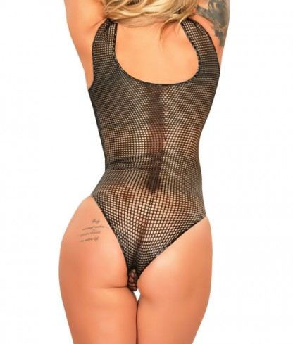Fishnet Latex Bodysuit in Black