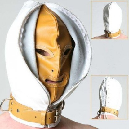 Bondage Leather Hood with Zip Face for Medical Play