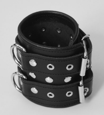 Studded Wrist Cuffs with Double Buckles