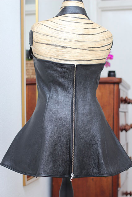 Leather Mini Dress with Exposed Breasts