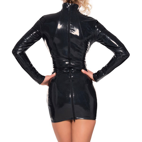Latex Little Black Dress with High Neck