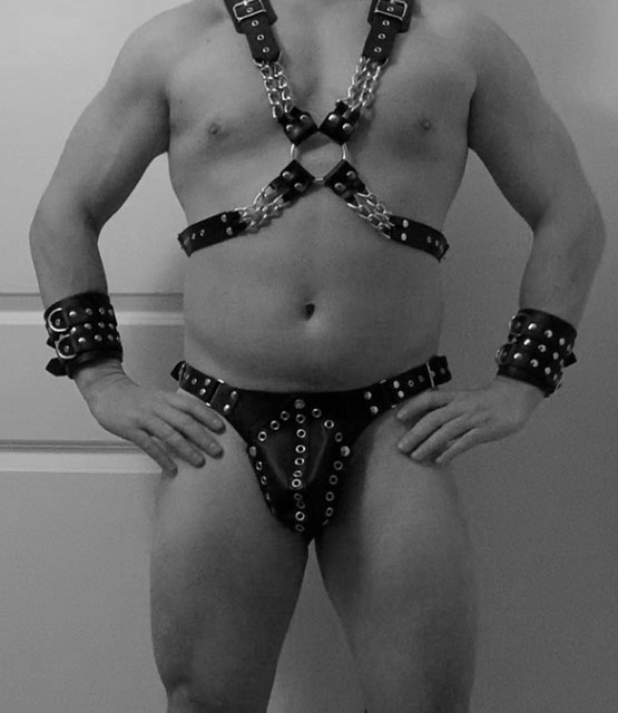 Leather Jock with Eyelets Detail