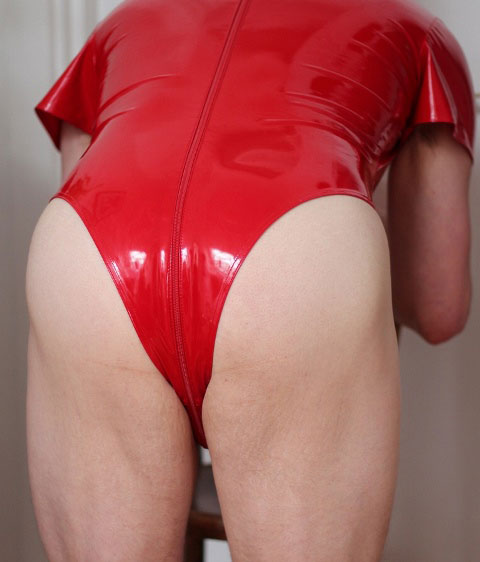 PVC Leotard for Man with Crotch Zip