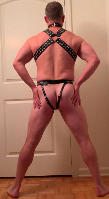 Terrific Leather Thong with Cock Ring