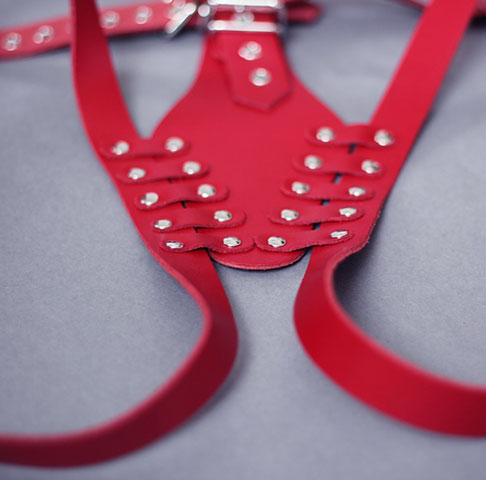 Leather Bondage Harness with Studs