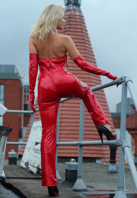 Exceptional PVC Catsuit with Open Back