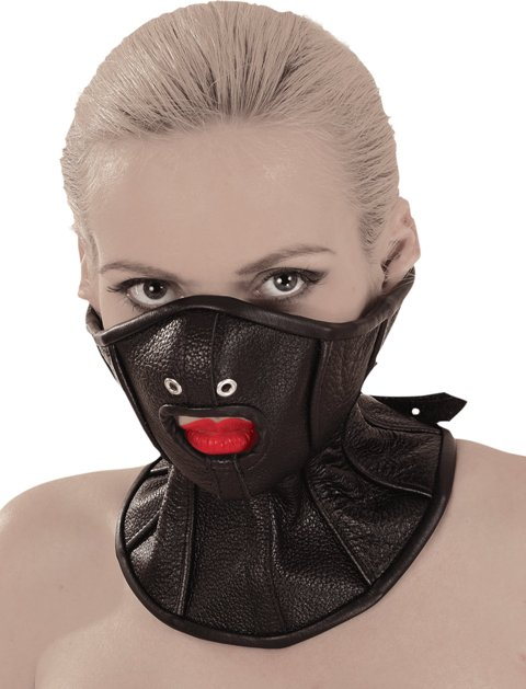 Leather Bondage Mask with Slave Collar