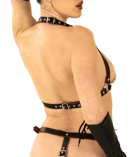 Leather and Chain Bra with Nipple Rings