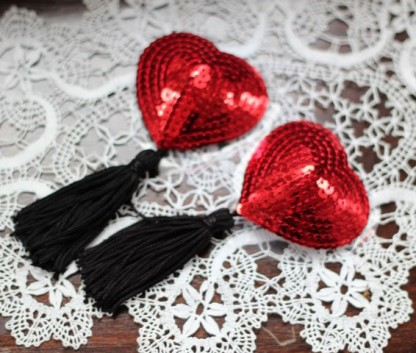 Sequinned Nipple Pasties with Tassels