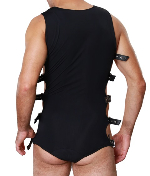Mens Lycra Bodysuit with Leather Straps