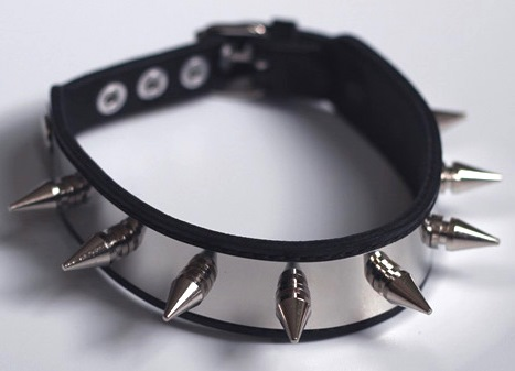 Spiked Collar in Steel and Leather