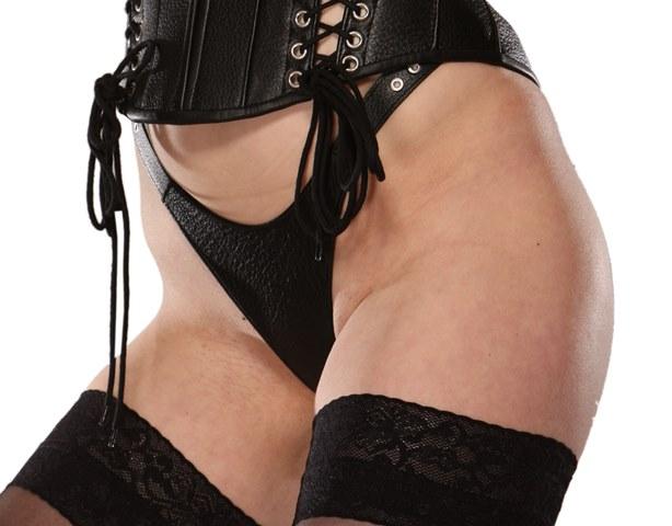 Double Strap Leather Bondage Thong