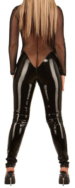 PVC Catsuit with Fishnet Panels