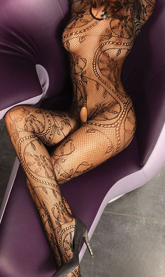 Bodystocking with Delicate Floral Pattern
