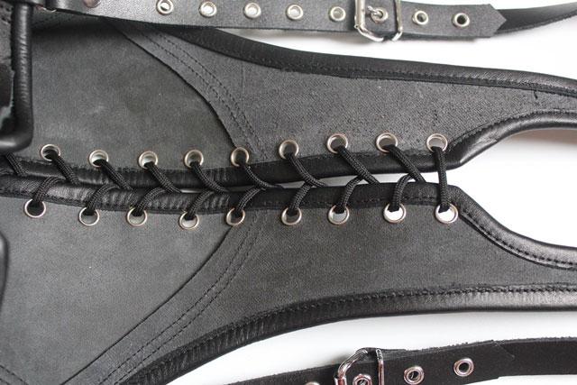 Leather Bondage Bodice with Open Back