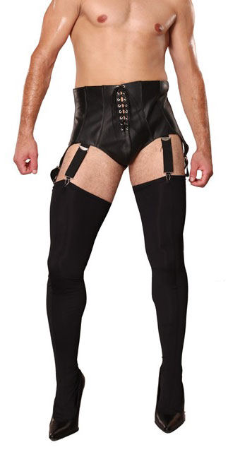 Men's Leather Suspender Belt
