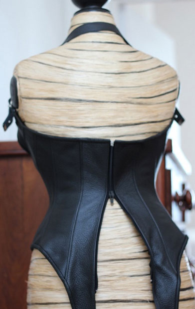 Leather Bodysuit in Underbust Corset Style