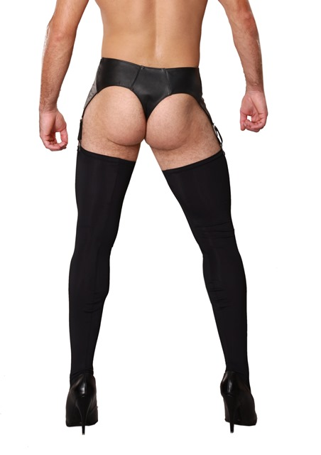 Leather Pants with Suspenders for Crossdressers