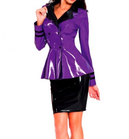 Military Jacket in Purple Latex