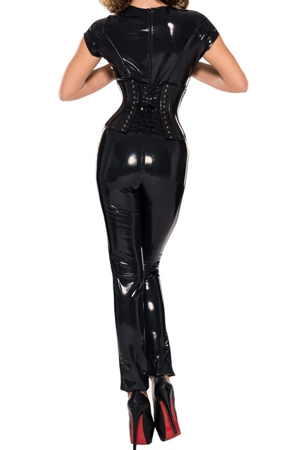 Open Crotch Catsuit in Twisted Latex