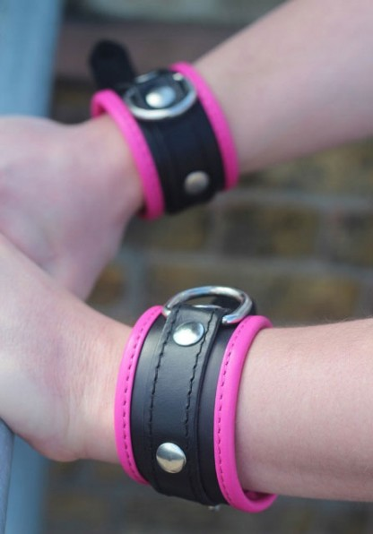 Narrow Padded Wrist Cuffs with Pink Trim