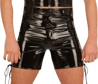 PVC Shorts with Lace-up Legs