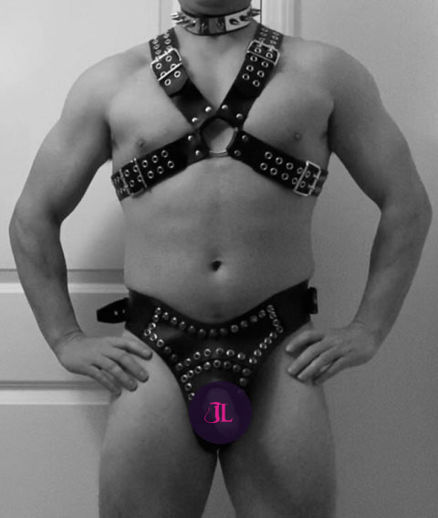 Spiked Leather Thong for Him