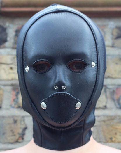 BDSM Hood with Inflatable Penis Gag for Her