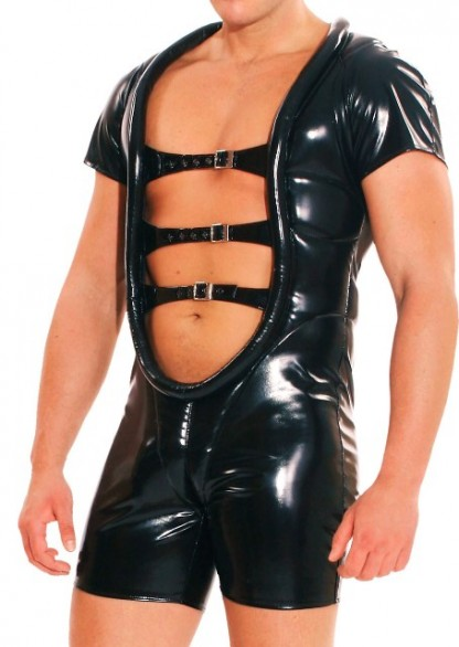 PVC Bodysuit for Men with Front Straps