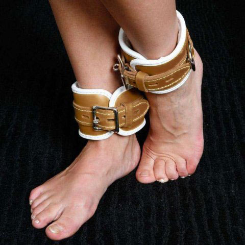Bondage Leather Ankle Cuffs for Medical Play