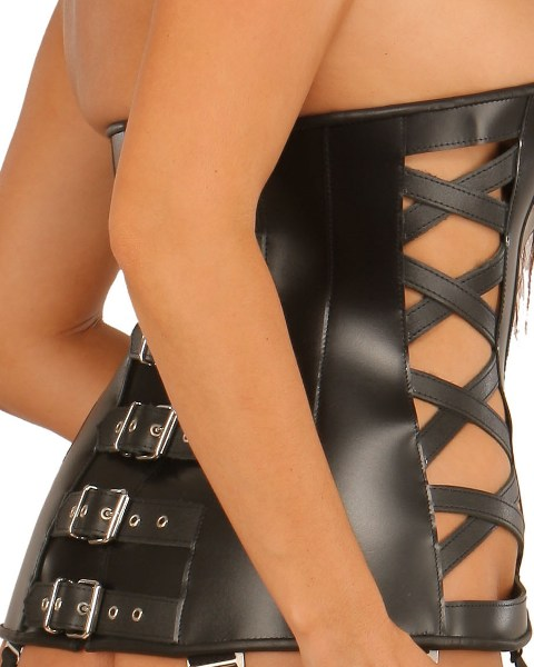 Leather Bondage Corset with Criss-Cross Pattern