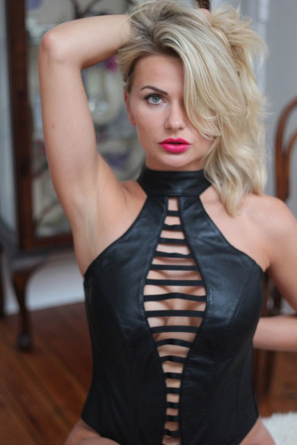 Leather Bodysuit with Strappy Front