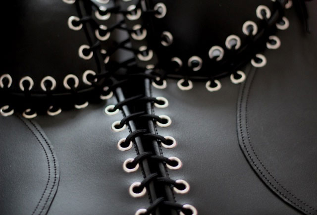 Leather Bodice with Open Crotch