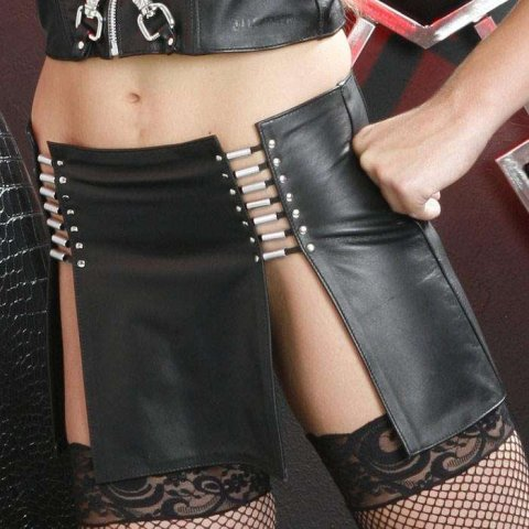 Leather Mini Skirt With Sexy Reveal