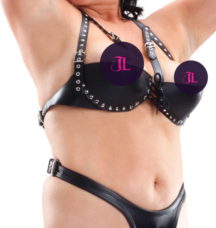 Big Boobs Leather Shelf Bra