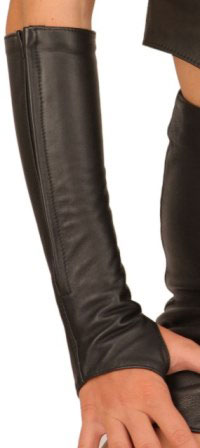 Exceptional Fingerless Long Leather Gloves