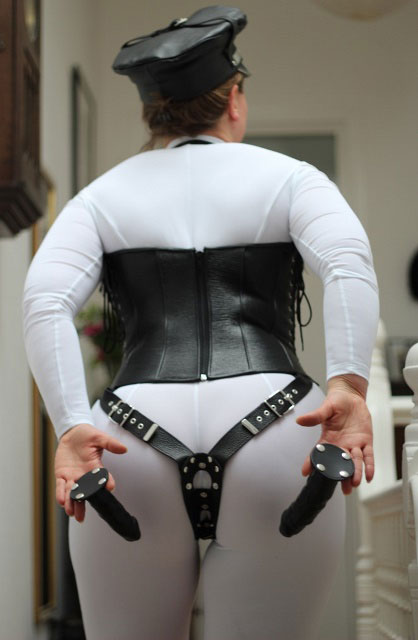 Leather Corset with 3-Way Dildo Strap-On Harness