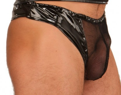 Mens Thong in PVC with Sexy Fishnet