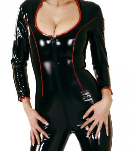 Catsuit in PVC with Contrast Trim