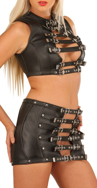 Leather Mini Skirt with Buckles