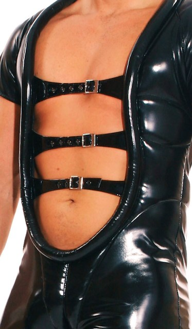 PVC Bodysuit for Men with Front Straps