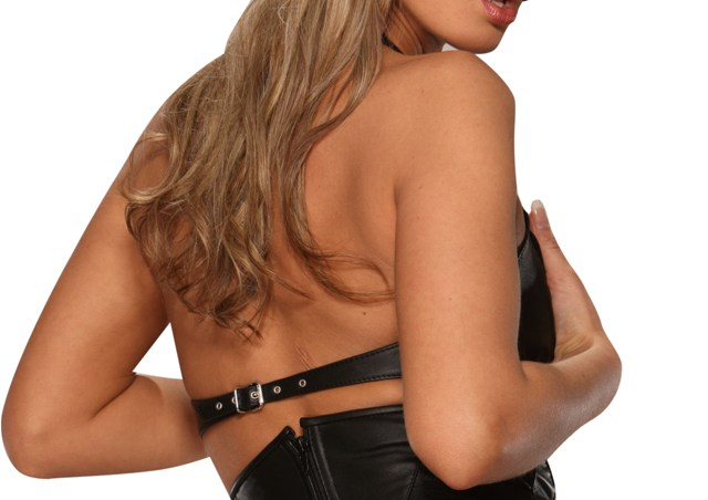 Leather Bra with Lace