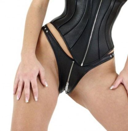 Leather Thong with Zipper