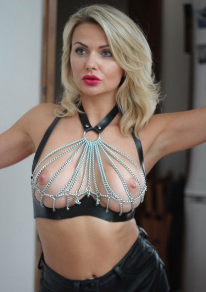 Leather Bra with Chain Cups