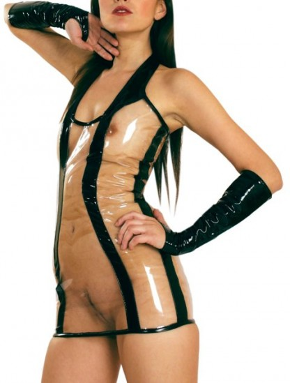 Halterneck PVC Dress with Clear Panels