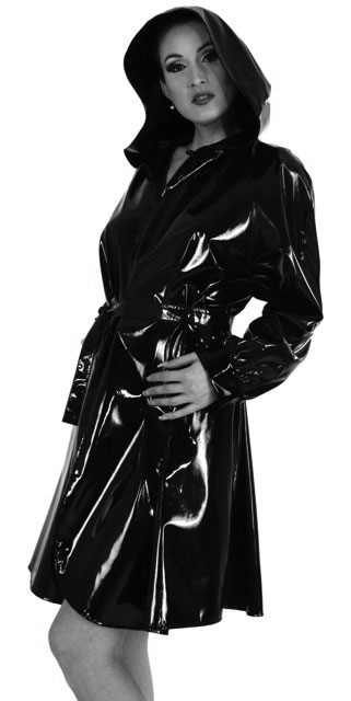 PVC Trench Coat with Hood