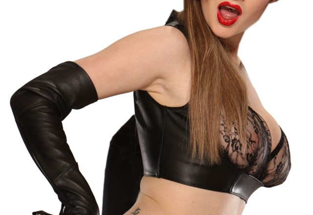 Leather Bustier with Lace Cups