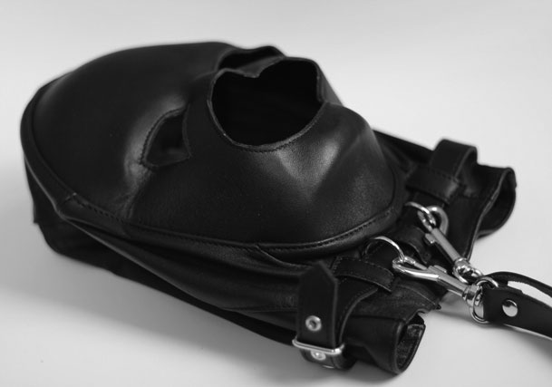 Leather and Lycra BDSM Mask with Leash