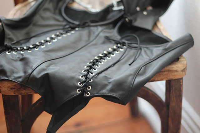 Leather Top with Open Breast and Suspenders