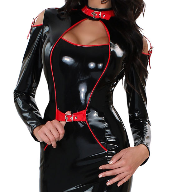 Latex Dress with Shoulder Cut Outs